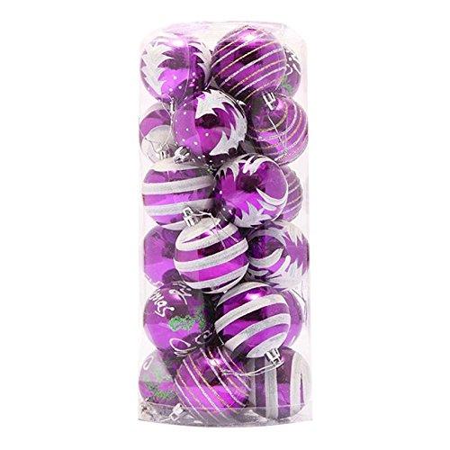 TOOGOO(R) 24 pz Palla di plastica della decorazione dell'albero di Natale di 6cm (viola)
