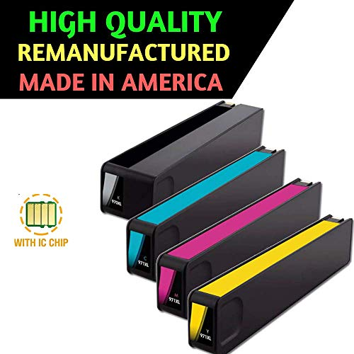 Best Ink Remanufactured Replacement for HP 970XL/971XL Ink Cartridges Combo Pack of 4 High Yield Replacements with New Chip for Officejet Pro X576dw X451dn X451dw X476dw X476dn X551dw