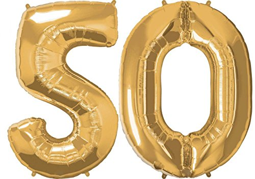 Giant 5 and 0 Gold Number Balloons