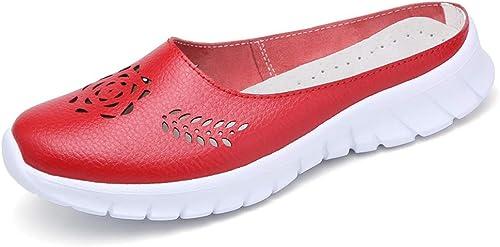 HENRYY Chaussure Femme Neuve Neuve Neuve en Cuir Baotou Pantoufles Plates avec Grande Taille Pantoufles Confortables et décontractées femmes-rouge-39 e5c