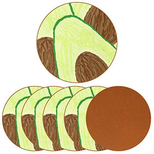 Paquete de 6 posavasos para bebidas, diseño de aguacate y frutas, ideal para decoración de bar