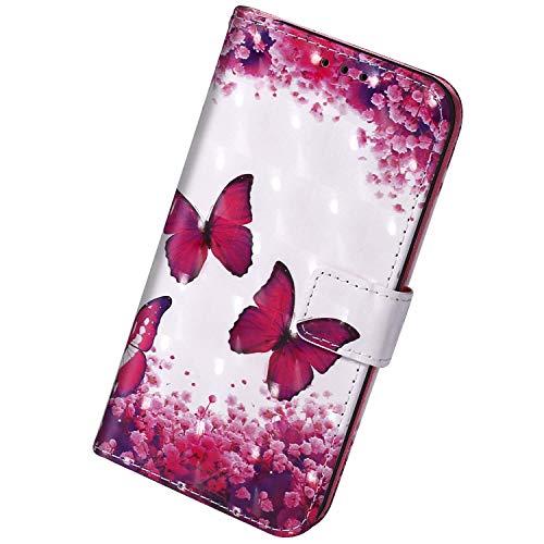 Herbests Kompatibel mit Samsung Galaxy A20S Hülle Leder Handyhülle Bunt Glänzend Glitzer Muster Klapphülle Brieftasche Schutzhülle Flip Case Tasche Ständer Kartenfächer,Rosa Schmetterling
