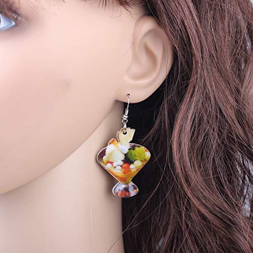 EHXWL 1 par de Frutas Dulces de Hielo Pendientes de Comida Colorido Lindo Estampado Encantador diseño de acrílico Estilo de Verano para niñas joyería