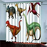 Cortinas de salon Dinosaurios Animales Modernas Cortina Opacas para Habitacion Dormitorio Juvenil Juego de 2 Paneles 140x250cm(alto x ancho)