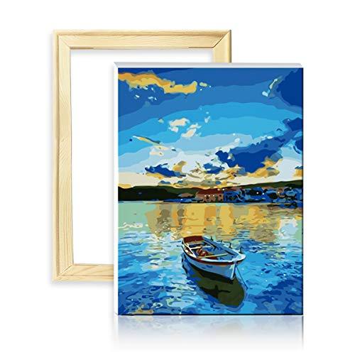 """decalmile Pintura por Número de Kits DIY Pintura al Óleo para Adultos Niños Barco en Lago Azul 16""""X 20"""" (40 x 50 cm, con Marco de Madera)"""