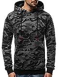 OZONEE Herren Kapuzenpullover Sweatshirt Pullover Aufdruck Camouflage Modern Hoodie Täglichen Streetwear Sport Sportswear Langarmshirt JS/TR13 DUNKELGRAU M