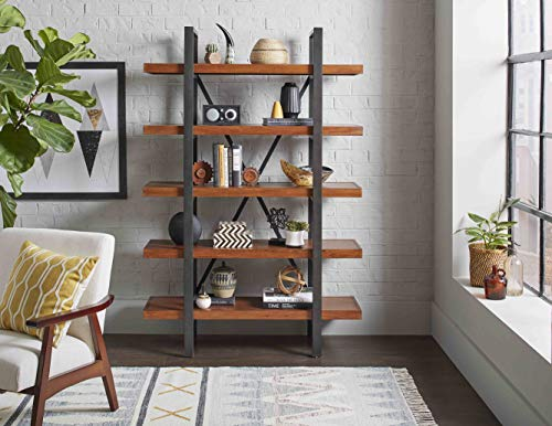 Martin Furniture Grafton Industrial Wood, Storage Space, Living Room Bookcase, Book Shelves, Brown