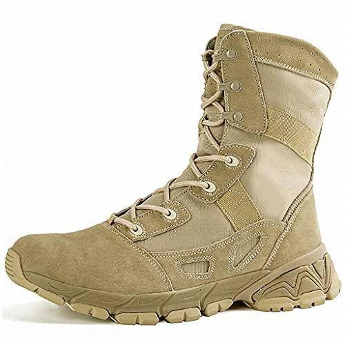 YUHAI Botas tácticas de los Hombres, Botas Militares Transpirables livianas Zapatos de Combate Resistentes al Desgaste para Caminar Caminando por el Camping,Sand -44(UK 10)