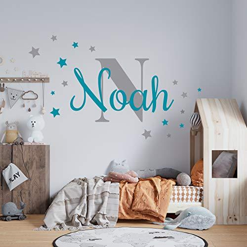 K011 Wandtattoo Namen Kindernamen Sterne Set Türschild Baby Mädchen Junge Mix Grau Personalisiert Wunschname verschiedene Größen (01 Sterne)