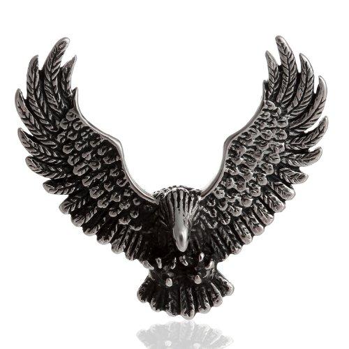 Ciondolo a forma di uomo DonDon Biker in confezione nera in velluto rosso con aquila in acciaio inox