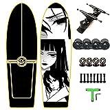 34'' Anime Principiantes Skateboard Pumping Surfskate, Longboard de Crucero Completo de Arce para Niños, Adolescentes y Adultos, Patineta con S7 Carving Truck, Rodamientos ABEC-11, Herramienta en T