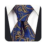 S&W SHLAX&WING Cravatte per uomo Cravatta blu scuro arancione Paisley Set cravatta classica taglia