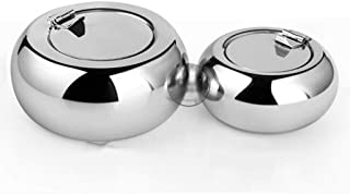 Multifunction Ashtray Round Stainless Steel Ashtray Home Party Bar Decoration Ash Holder for Gift Cigarette Lighters & Smo...