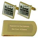 El director de cine con forma de claqueta de tono Oro gemelos Money Clip grabado Set de regalo