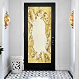 3D Modern Art Decorative Door Sticker, Pearls Illustration of a Frame with Ornaments and Pearls Bar, DIY Art Home Decor Poster Decoration, W23.6 x L78.7 Inch