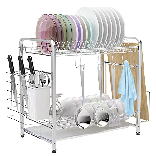 2 Tier Dish Drying Rack, VLikeze Stainless Steel Dishes Drainer Dryer with Drainboard, Utensil Holder and Cutting Borard Rack, Plate Dishes Sink Rack Kitchen Organizer for Kitchen Countertop (Silver)