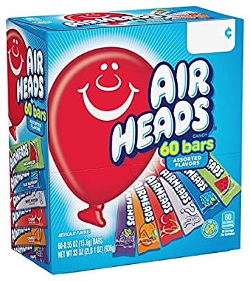 Airheads Candy Bars, Variety Bulk Box, Chewy Full Size Fruit Taffy