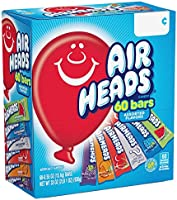 AirHeads Bars, Chewy Fruit Candy, Variety Pack, Party, Halloween, 60 Count (Packaging May Vary)
