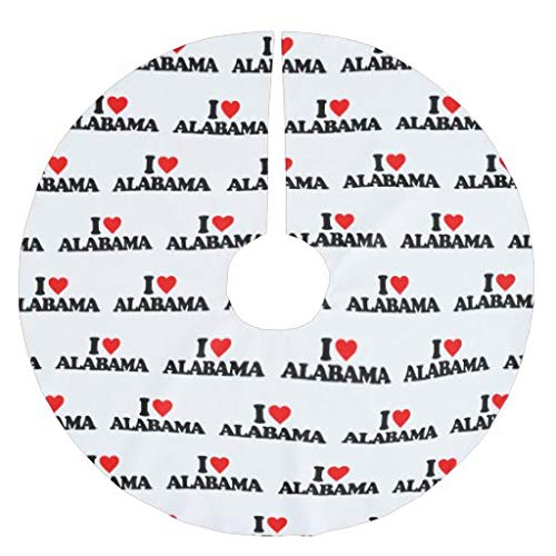 Traasd11an Christmas Tree Skirt, 48 inches Large Xmas Tree Skirts I LOVE ALABAMA for Christmas Tree Decorations