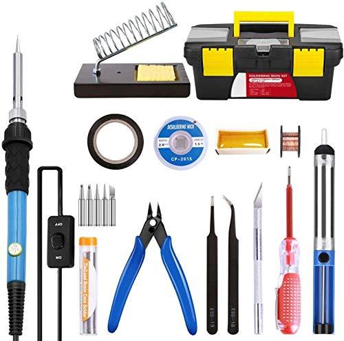 Kit de Cautín Portátil Soldador de hierro Kit Electronics 60W Soldadura de temperatura ajustable Hierro, 5pcs Soldadura puntas de hierro en la caja de herramientas portátil