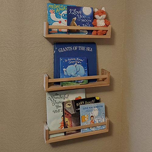Gneric 4 Pack Wood Wall Mount Nursery Bookshelf Floating Bookshelves Photos CDs Shelf for Kid's Room, Floating Wooden Spice Wall Mounted Rack for Kitchen