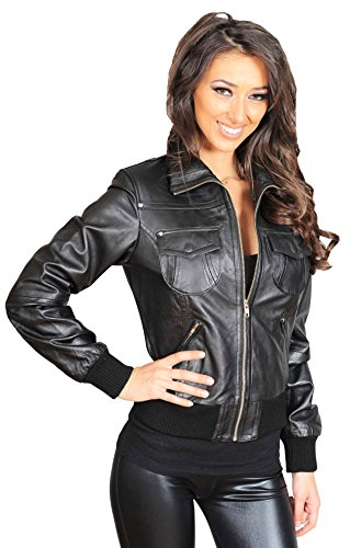 A1 FASHION GOODS Womens Fitted Black Leather Bomber Jacket Waist Length Casual Zip Up Varsity - Susan (10)