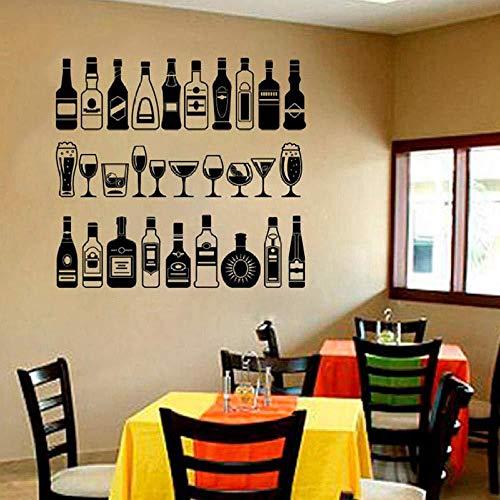 Vinyl Aufkleber für alkoholische Getränke Bar Wandaufkleber für Partys Zubehör für Bars Verschiedene Bar Getränke Hauptdekorationen Küche 57x61cm