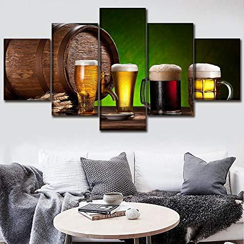 Póster de lienzo, arte de pared, 5 piezas, pintura de alimentos, impresiones en HD, barril de Alcohol y cerveza y bebidas, imágenes decorativas para el hogar, 100x50cm Con marco
