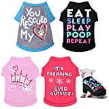 4 Pieces Dog Shirts Printed Puppy Shirts Pet Clothes Comfortable Puppy Tee Shirts Breathable Dog Sweatshirt Pet Apparels for Small and Medium Dogs Cats (M Size)