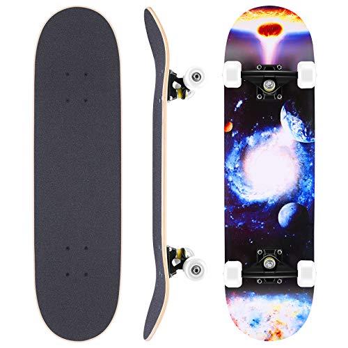 WeSkate Skateboard Complete Board 79x20cm Tablero de Madera con rodamientos de Bolas...