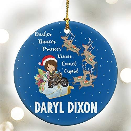 QMSING Dasher Dancer Prancer Vixen Comet Cupid Daryl Dixon - The Walking Dead Parody - Ceramic Ornament