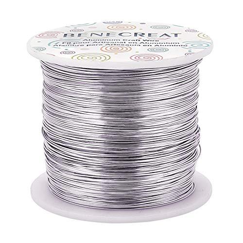 BENECREAT 22 Gauge (0.6mm) Aluminiumdraht 260m (850 FT) eloxierter Schmuck Craft Making Beading Blumenfarbener Aluminium Craft Wire - Silber