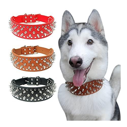 Collar de perro de piel punky con punta de punta, ajustable, de piel con tachuelas para perros grandes, pastor alemán (color: rojo, tamaño: XXL)