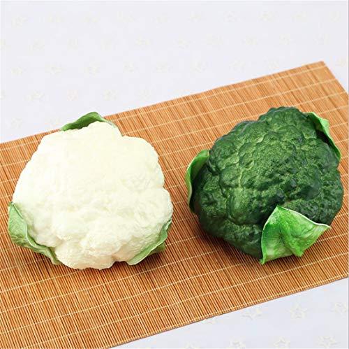 Zzooi 2PCS Artificial High Simulation Cauliflower Display Props Faux Broccoli Cabinet Showcase Decor