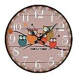 Reloj de pared retro de madera redondo reloj de pared para sala de estar, cocina, dormitorio, oficina, decoración Eule