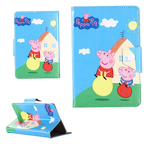 Universal 8 inch Case Cover for ANY Tab Model Samsung Ipad Amazon kindle etc (8' inch Tablet - 8' Size, Peppa & George Pig)