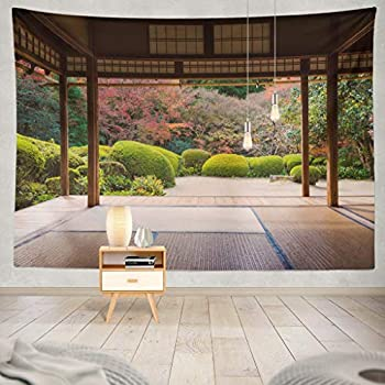 KJONG Beautiful Nature Colourful Tree Leaves Japanese Zen Garden Autumn Season Kyoto Japan Japanese Nature Asia Asian Decorative Tapestry,60X80 Inches Wall Hanging Tapestry for Bedroom Living Room
