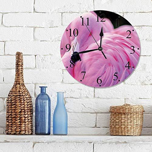 Silencioso Wall Clock Decoración de hogar de Reloj de Redondo,Flamingo, Royal Flamingo chileno con el color del amor Romance Animal salvaje Naturaleza Fo,para Hogar, Sala de Estar, el Aula
