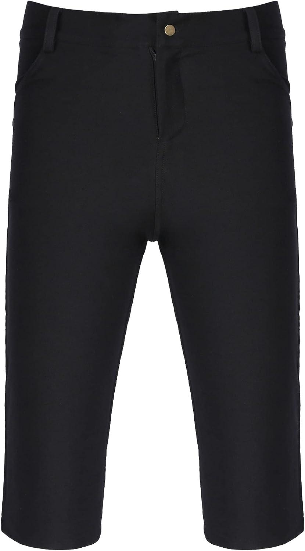 Freebily Mens Slim Jeans Shorts Casual Knee Legth Hem Flat Front Skinny Denim Shorts