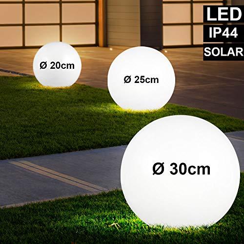 3er Set LED Solar Kugel Lampen weiß Garten Weg Beleuchtung Terrassen Erdspieß Außen Steck Leuchten
