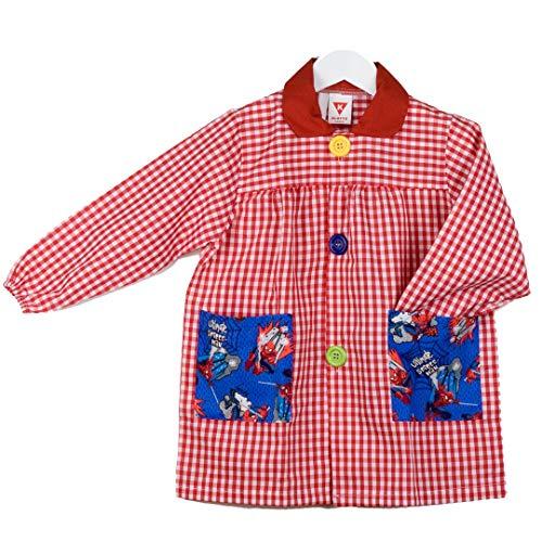 KLOTTZ - Babi guardería con bolsillos de tela de Spiderman. Bata colegio de manga larga Niñas color: ROJO talla: 5