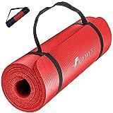 ROMIX Tappetino Yoga Antiscivolo, 10mm Extra-Spessa Yoga Mat, Schiuma di Memoria Stuoia di Fitness Esercizio per Uomini Donne, Casa, Professionale Palestra Allenamento Meditazione Pilates - Rosso