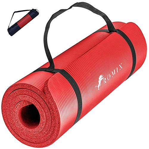 ROMIX Colchoneta de Yoga, Antideslizante Extra Gruesa 10MM Ecológica Espuma Memoria Yoga Mat, No Tóxica, Látex y PVC Gratis Exercise Mat para Gimnasio Ejercicio Fitness Pilates - Rojo