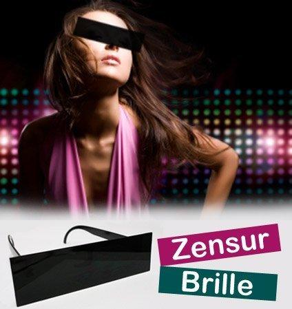 HAAC Gagartikel Zensur Brille Balken mit schwarzen Gläsern für Halloween Fasching Karneval