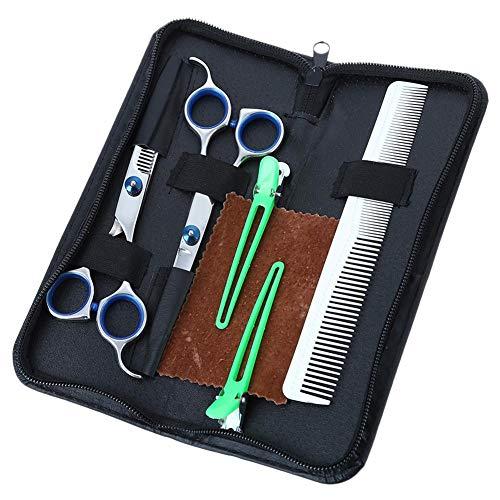 Molare 5PCS/Set Hair Cutting Scissors Set Professional Home Barber Thinning Shears Hairdresser Scissors Kit Haircut Scissors Set with Clips Groming Comb Hairdressing Scissors for Men Women