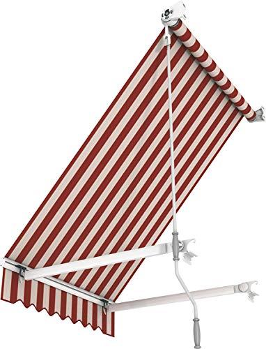 Broxsun Balkonmarkise Idaho Basic, 1m bis 5m, 120 Stoffe, Geländerabstand 0,7m, wetterfeste Klemmmarkise Sonnenschutz, Breite von 100 bis 110cm, Länge 70cm, Kurbelantrieb manuell