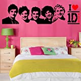 SWORNA Fashion Series I Do Love One Direction with The 5 Team Members' Head Portraits Vinyl Lettering Decal Home Decor Wall Art Saying Sticker Quote Bedroom Living Room Hallway Office