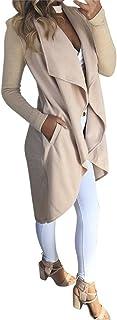 Toimoth Women's Long Sleeve Waterfall Asymmetric Drape Open Long Maxi Cardigan