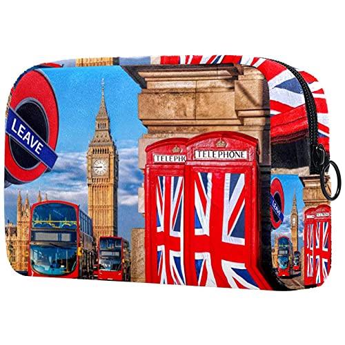 Bolsa de Maquillaje compacta Bolsas de cosméticos de Viaje portátiles para Mujeres niñas Neceser,Gran Bretaña vota para Abandonar la Cabina telefónica de la Unión Europea