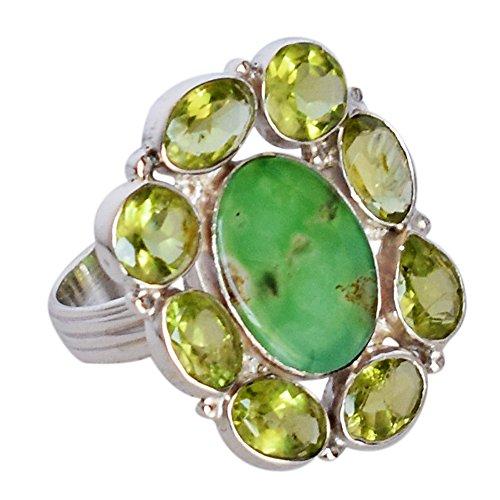 Anillo de plata de ley 925 con piedras preciosas de crisoprasa y peridoto, magnífica joyería de diseñador, para niñas FSJ-1322, Piedra, Crisoprasa y peridoto,